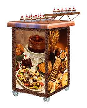 Cake Walker™ Demonstration Cart Sampling Station with Bakery Graphics Panels and Maple block top with cupcakes