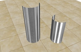 Two Pleated Stainless Steel Corner Guard Case Protectors on tile floor
