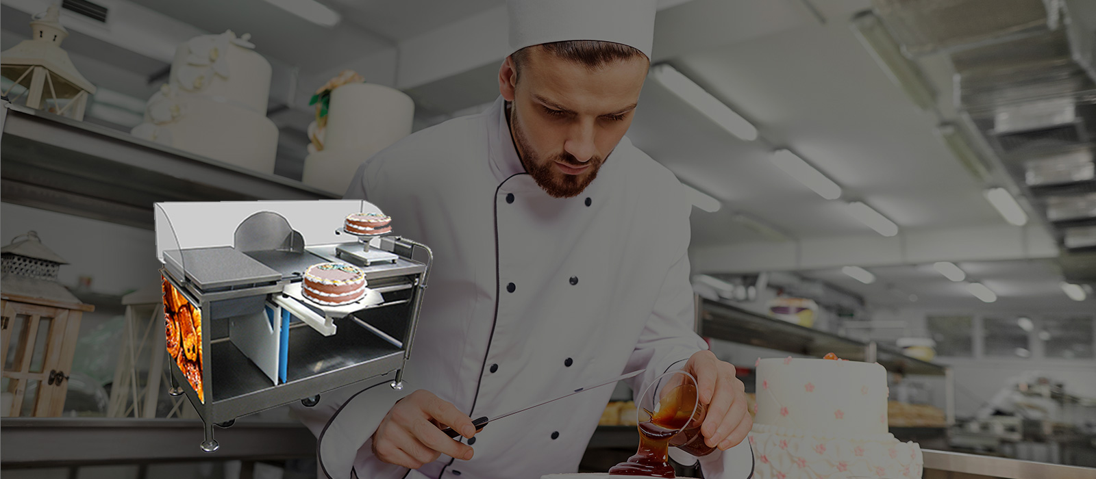 Slider background image with cake decorating station. Chef in the background