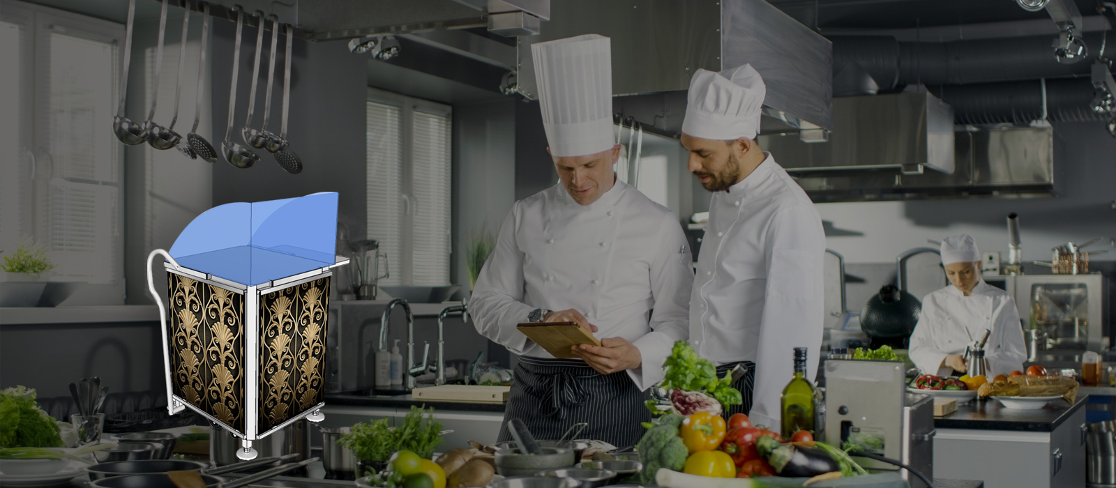Chef cabinet with chefs in the background