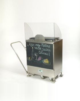 Mobile Charcuterie Demonstration Cart with Chalboard Graphics Panel Customer Side with handle engaged
